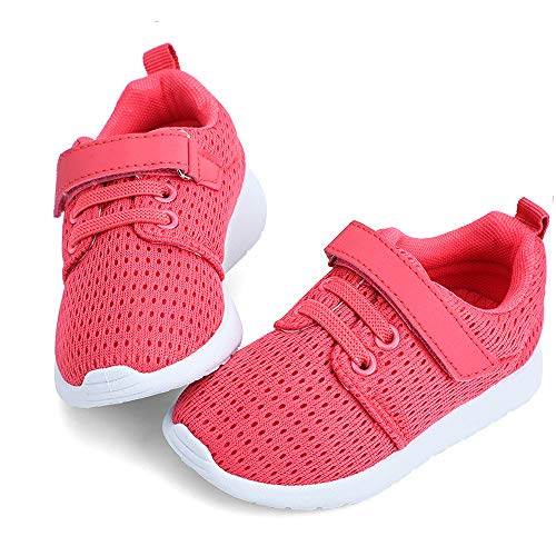 hiitave Toddler Girl Shoes Cute Sneakers Breathable Tennis Shoes for Walking,Trail Running,School Hot Pink 7 M US Toddler