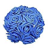 24pcs / lot artificiales de Rose Ramo decorativo Rose de la espuma Flores Ramos de novia for la boda del partido de la decoración del hogar fuentes de la boda, color: azul real ( Color : Royal blue )