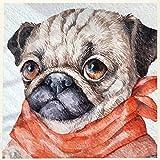 Animal De Perro Pug Babero Amarillo﹣Diy 5D Kit De Pintura De Diamante,Diy 5D Diamond Painting,Manualidades Para Decoración De Pared﹣30X30Cm(Sin Marco)