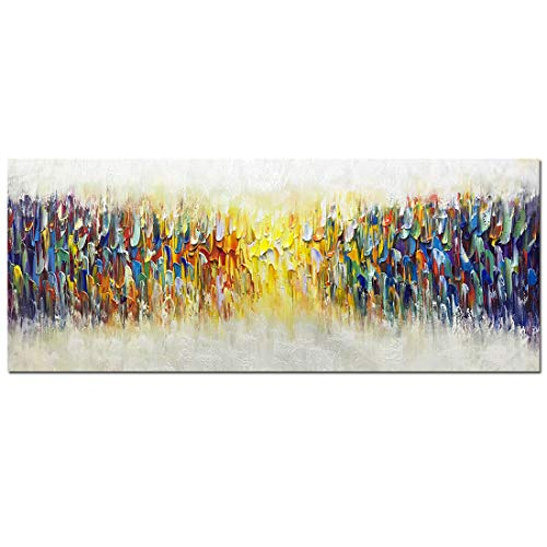 AMEI Art Paintings,24x60Inch Huge Size 100% Hand Painted Abstract Colorful Melody Oil Paintings on Canvas Stretched and Framed Artwork Texture Palette Knife Paintings Simple Modern Home Decor Wall Art