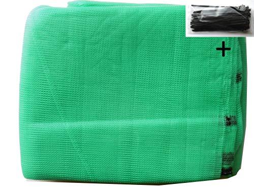 EXCOLO Gerüstnetz 3,07m x 10m Farbe hellgrün plus 100 Kabelbinder als Schutznetz Staubnetz Gerüstschutz Windfang Schattierung Windschutz