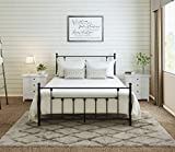 AMBEE21 Victorian Queen Metal Bed Frame with Headboard and Footboard – Platform/Wrought Iron/Heavy Duty/Solid Sturdy Metal Slat/Dark Black/No Box Spring Needed/Mattress Foundation/Under Bed Storage
