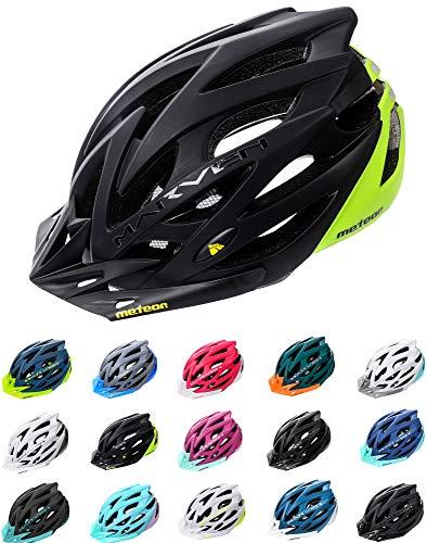 Meteor Casco Bici per Giovani e Adulti Donna e Uomo Caschi per Downhill Enduro Ciclismo MTB Helmet Ideale per Tutte Le Forme di attività in Bicicletta Marven (S(52-56cm), Nero/Verde)