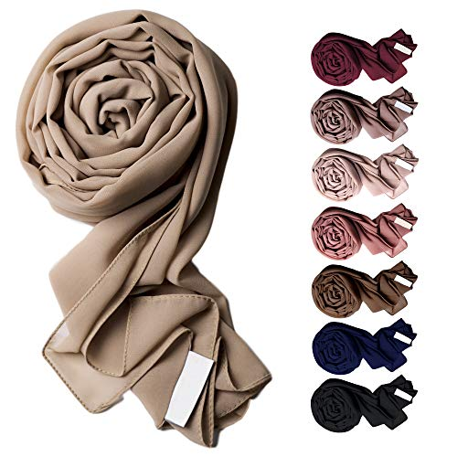 Voile Chic 8 Colors Pink Taupe Premium Chiffon Wrap Head Scarf (Non-Slip)