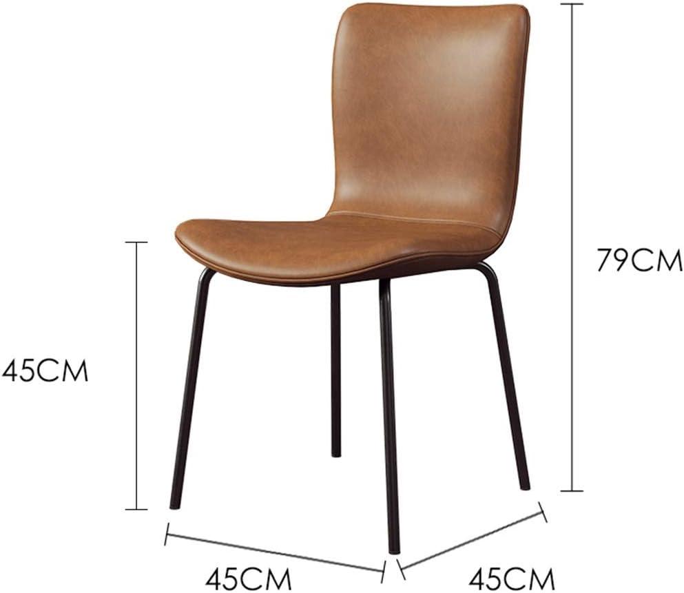 HEJINXL Chaises Salle Manger Nordic Modern Cuir Dossier Minimaliste Metal Legs Leisure Stool Cafe Chaise Cuisine Maison Salon Chaise Chambre (Color : G) D