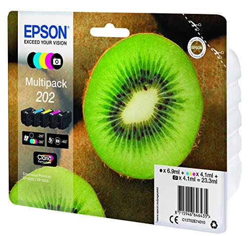Original-Tinte Epson 202 Multipack mit 5 Schwarz, Gelb, Cyan, Magenta, Photo, Schwarz, Originalverpackung, mit RF-/Akustikalarmen für Expression Premium XP-6000, XP-6005