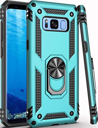 Galaxy S8+ Plus Case,(NOT for Small S8),Military Grade 16ft. Drop Tested Cover with Magnetic Ring Kickstand Compatible with Car Mount Holder,Protective Phone Case for Samsung Galaxy S8 Plus Teal