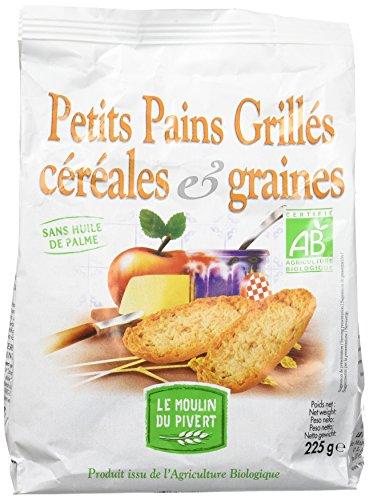 Moulin Pivert Petits Pains Grillés Céréales/Graines 225 g - Lot de 8 Bio