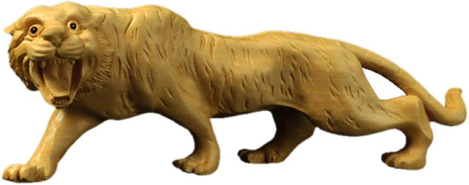 BGHYU Cheap mail Over item handling order shopping Tiger Figurines Animal Boxwood Solid Carving Wood C