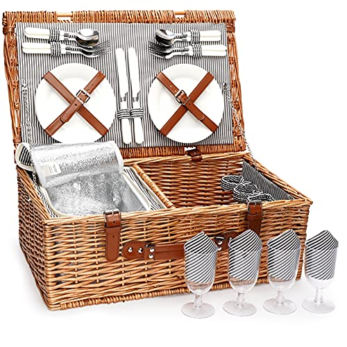 ZORMY 4 Person Picnic Basket, Large Willow Hamper Set with Insulated Compartment, Handmade Large Wicker Picnic Basket Set with Utensils Cutlery - Perfect for Picnicking, Camping