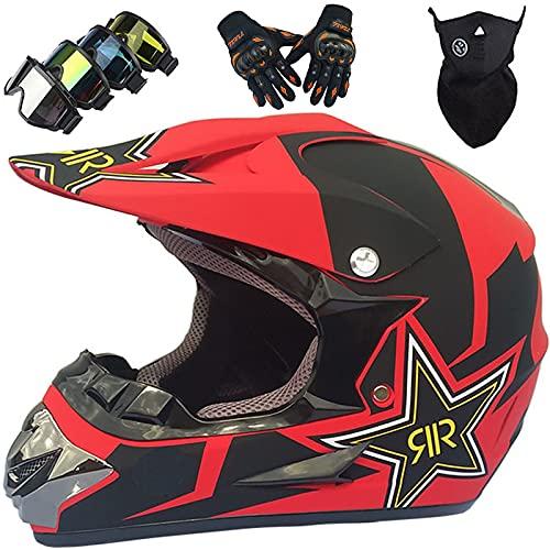 KILCVEM Motocross Helm Kinder von 5 bis 14 Jahren, Jugend Erwachsene Cross Helm Set Fullface Crosshelm für Downhill Enduro Quad Bike MTB Go Karting,Black Red-L