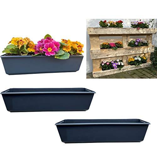 2er Blumenkasten Set Balkonkasten Einsatz passend für Europaletten für Blumen, Kräuter und Früchte 2 Stück 37cm