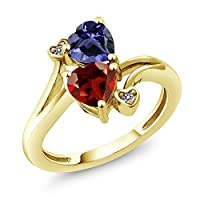 Gem Stone King 1.51カラット 天然 ガーネット 指輪 リング レディース 天然 アイオライト (ブルー) 天然 ダイヤモンド 10金 イエローゴールド(K10)