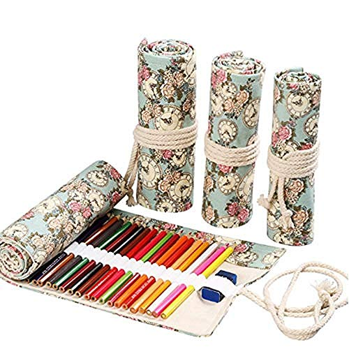 Canvas Potlood case te versieren 36 Gat Canvas Potlood Case Grote Wrap Roll Up Potlood Case School Stationaire Pen Brush Bag Schetsen Pen Case Penselen Make-up Pouch