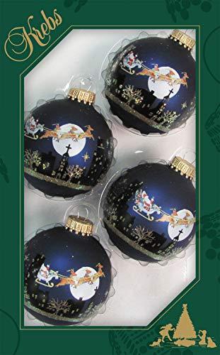 Dekohelden24, Set di 4 palline blu, decorazioni per l'albero di Natale, originali Lauschaer, 7 cm Weihnachtsszene