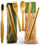 Bamboo Cutlery and Reusable Utensils with Case and Bonus Bamboo Toothbrush. Travel Cutlery Set and Reusable...