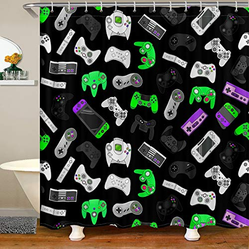 Loussiesd Games Fabric Bath Curtain Kids Video Game Gamepad Shower Curtain Gamer Console Gaming Bathroom Shower Curtain Set for Boys Stalls Colorful Game Controller Shower Curtains 180x210cm