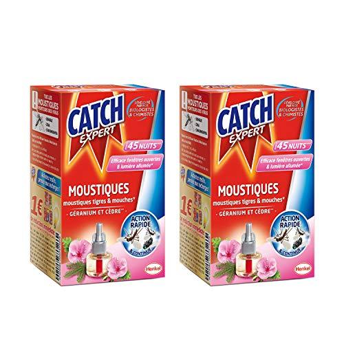 Catch Expert – Recharge Liquide pour Diffuseur Electrique Anti–Moustiques & Moustiques Tigres – Parfum Géranium & Cèdre– 45 Nuits – Lot de 2 (2 x 45 Nuits)