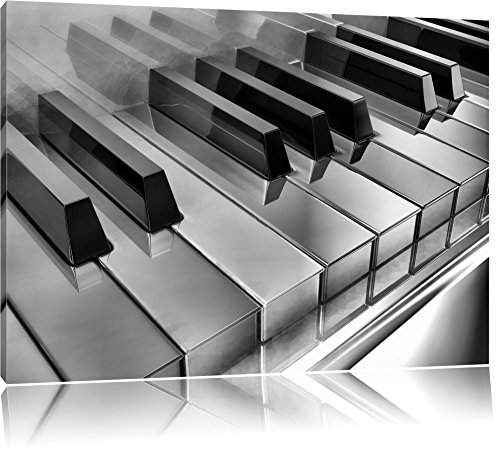 Pixxprint Piano Klaviertasten als Leinwandbild | Größe: 80x60 cm | Wandbild| Kunstdruck | fertig bespannt