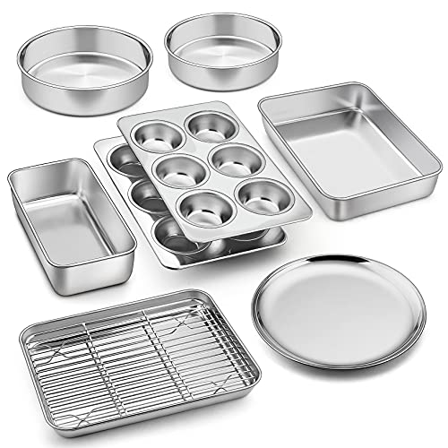 9 Pcs Bakeware Set, P&P CHEF Stainless Steel Kitchen Bakeware Pans, Including Toaster Oven Pan/Cooling Rack/Lasagna Pan/Round Cake Pans/Muffin/Loaf/Pizza Pan, Healthy & Durable, Dishwasher Safe