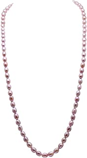 JYX Pearl Long Necklace Classical 7-8mm Oval Freshwater Pearl Sweater Necklace Opera Length 32