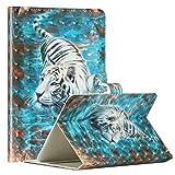 Miagon Tablet Hülle für Alle 10 Zoll Tab(Samsung Huawei Ipad Amazon Kindle etc),PU Leder 3D Muster Flip Brieftasche Case mit Standfunktion Kartenschlitz Stoßfest Cover,Tiger