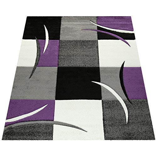 Amazon Brand - Umi Tapis De Salon De Chambre Poil Ras Court Motif Geometrique Marbre Carreaux Moderne Décoration, Couleur:Violet, Dimension:60x110 cm