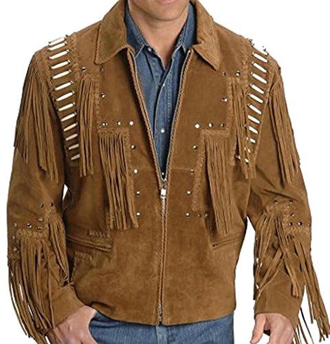 Classyak Western Cowboy Lederjacke für Herren, mit Fransen Gr. Medium, Braun, Wildleder