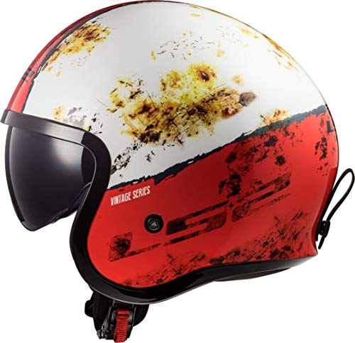 LS2 Casque moto OF599 SPITFIRE RUST Blanc Rouge, Blanc/Rouge, XS