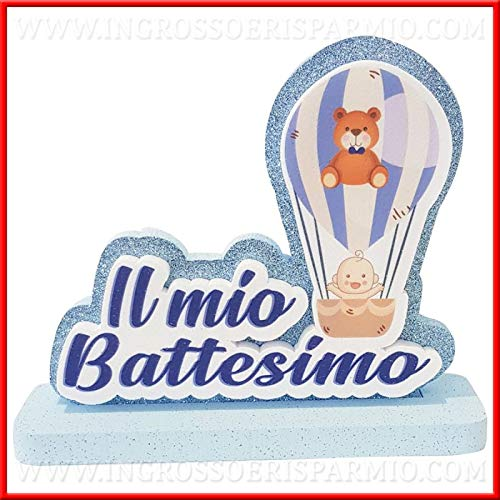 Grueso y ahorro de poliestireno decorativo tridimensional con texto «Il Mio Battesimo y globo aerostático» azul con purpurina, centro de mesa para bautizo o niño