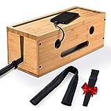 scatola di gestione dei cavi legno, diy scatola nascondi organizzatore cavi con cerniera manicotto per cavo, 8 velcro, portaoggetti per cavi ideale per scrivania, computer, hub usb, tv, casa e ufficio