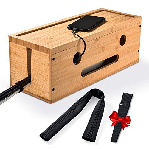 IKKLE Kabel-Management Box aus Holz, DIY Kabel-Organizer Box mit Reißverschlussschutzhülle, 8 Klettverschlüsse, riesiger Stauraum, für die Sicherheit Ihrer Kinder, Ideal für Schreibtisch, Computer