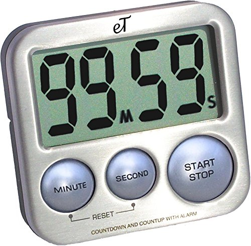 Digital Kitchen Timer Stainless Steel - Silver - Strong Magnetic Back - Kickstand - Loud Alarm - Large Display - Auto Memory - Auto Shut-Off - Model eT-26 (Silver) by eTradewinds