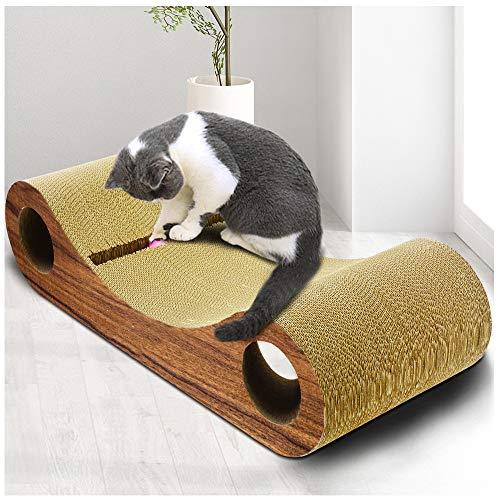 JLCYYSS Brille Holzmaserung Cat Scratch Board, gewellte Schaber Pad, Rest Nest, Pfote Pflege Spielzeug Spaß, Katzenspielzeug