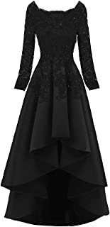 Womens Long Sleeves Beaded High Low Evening Prom Party Dresses Lacesa91