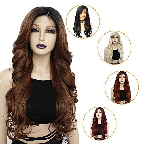 Ebingoo Brown Ombre Lace Front Wig with Black Roots Long Body Wavy Synthetic Wig with Flip Side Part Glueless Natural Heat Resistant Hair for Women 26 inches