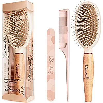 3pcs Brush and Comb Set - Hair Brush Set | Detangling Hair Brush for Women, Men and Girls - Hair Brush For Wet or Dry Hair | Rat Tail Comb - Teasing Comb | Double Sided Nail File for Manicure Pedicure