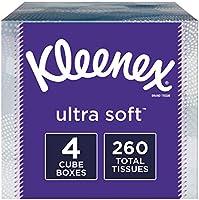 Kleenex Ultra Soft Facial Tissues, 4 Cube Tissue Boxes, 65 Tissues per Box (260 Tissues Total)