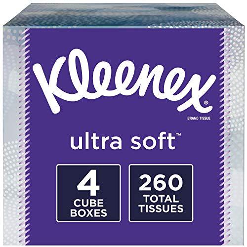 Kleenex Ultra Soft Facial Tissues 4 Cube Tissue Boxes 65 Tissues per Box 260 Tissues Total