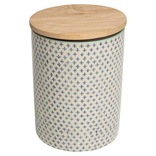 Tranquillo Dose Traditional, Aufbewahrungsdose rund aus Steingut mit handgestempelten und verspielten Print, mit abnehmbarem Bambusdeckel, inkl. Dichtungsring, Ø 11 x 15,5 cm