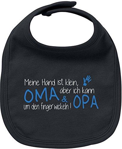EZYshirt® Meine Hand ist klein aber ich kann Oma & Opa um den Finger wickeln Baby Lätzchen Halstuch