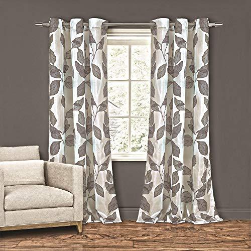 Home Maison Karine Leaf Print Faux Silk Curtain Set, 55x84, Grey
