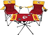 Rawlings NFL 3-Piece Tailgate Kit, 2 Gameday Elite Chairs and 1 Endzone Tailgate Table, Kansas City Chiefs