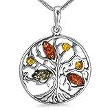 Bernsteinschmuck Lebensbaum 45cm Kette Weltenbaum Anhänger 925er Silber Halskette Bernstein Schmuck Amulett Medaillon Spruch #b1347