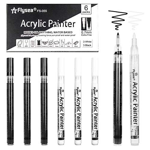 Premium Acrylstifte Marker Stifte für Steine, 6 Pack Marker Paint Pen, Metallic Stifte für DIY Fotoalbum Stein Metall Leinwand Papier Glas Kunststoff Keramik Holz Leder