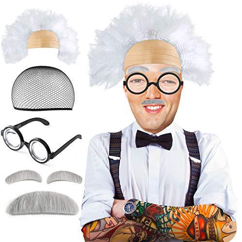 Beelittle Old Man Mad Scientist Set de Pelucas Albert Einstien Ben Benjamin Franklin Disfraz de Abuelo - Peluca, Cejas, Bigote, Gafas de Vestir (B)
