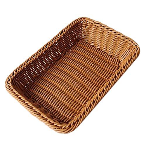 Brood Opbergmandje, Foxom rechthoekig geweven opbergmandje voor huis, winkels of markten 30 * 20 * 7cm DONKERBRUIN