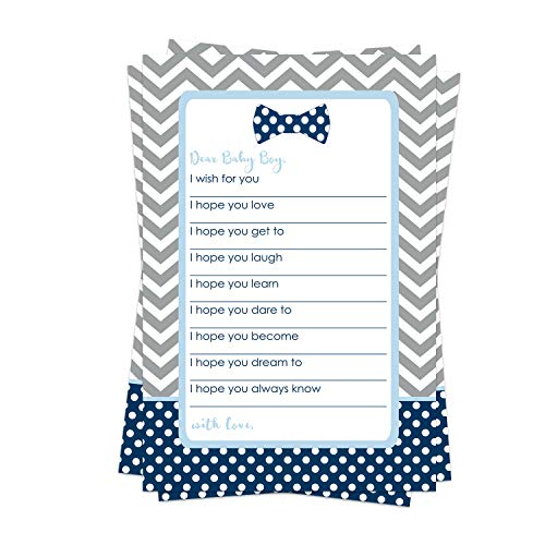 Bow Tie Wish for Baby Shower Game (20 Pack) Advice and Best Wishes – Wishing Well Cards – Birthday Time Capsule – Little Man Sprinkle Activity – Oh Boy Party Supplies - Navy and Grey