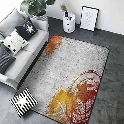 "Kitchen Mat Sports Decor,Basketball Streetball and Paint Stains Image on Concrete Wall Rustic Decoration,Charcoal Orange 80""x 120"" Best Floor mats"