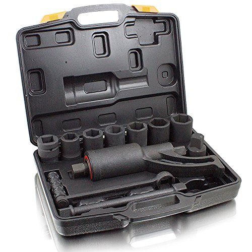 BITUXX® Drehmomentverstärker Drehmomentvervielfältiger 5500 nm Drehmomentschlüssel 11 tlg Set mit 24,27,30,32,33,36,38 mm Stecknüssen